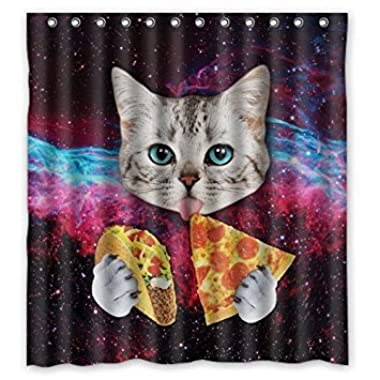 Custom Space Nebula Universe Cat Eat Pizza Shower Curtain Stylish Waterproof Polyester Fabric Bathroom Deco 66  x 72