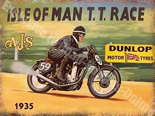 AJS Isla de hombre TT Raza Dunlop Motor Neumáticos 1935 Garaje Vintage Metal/Cartel De Acero Para Pared - 30 x 40 cm