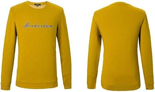 YXRL T-Shirt Décontracté à Manches Longues pour Hommes Tide Pull à Col Rond Chemise à La Mode D'age Moyen jaune-XXXL 56