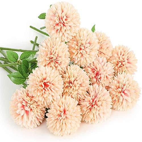 YYHMKB Fleurs artificielles 12 pièces chrysanthème Boule Fleurs Soie Hortensia mariée Mariage Bouquet pour la Maison Jardin fête Maison décorations Rose