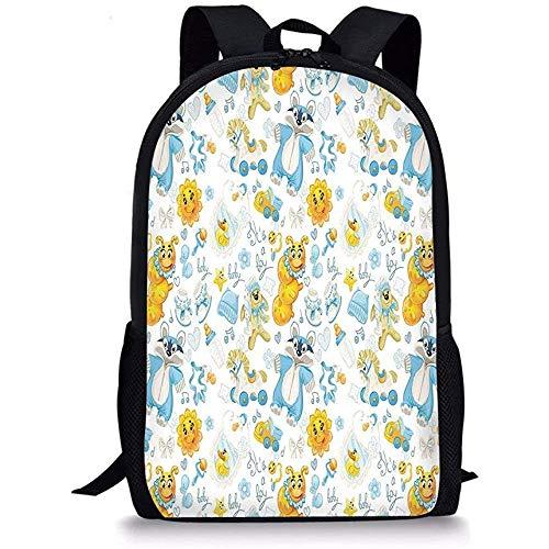 Hui-Shop Schultaschen Kindergarten, es ist EIN Jungenbild mit Happy Sun Raccoon im Pyjama Blue Hats und Schnuller Earth Yellow Aqua für Jungen Mädchen