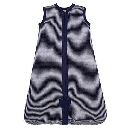 FossenMA Saco de Dormir para bebé, Verano y niña, Primavera, de algodón, diseño de Rayas, Color Negro, Azul y Gris, 0,5 TOG. 60-90cm, a Rayas