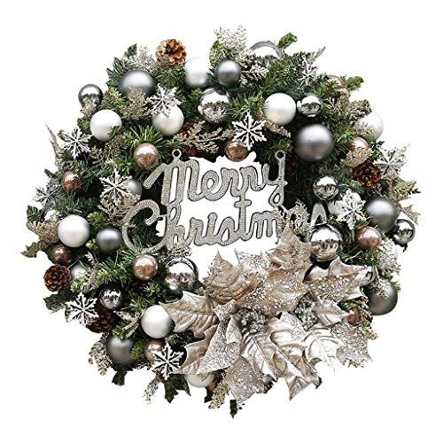 NLIAN- Corona de Navidad artificial, con el alfabeto Inglés / esférica decoraciones / conos del pino / Nieve Artificial / Flores for el hogar de la pared de la boda de Halloween de Acción de Gracias