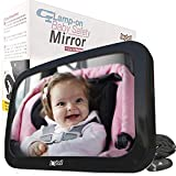 The ONLY Safe Baby Car Mirror for Adjustable Headrests, Strong Stable Attachment with NO Slippery Straps | Safest Design for Rear Facing Car Seats | Crash Test Proven | Shatterproof | Extra Large