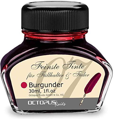 Tinta de pluma estilográfica en tinta de vidrio, Tinta para pluma estilográfica, Tinta estilográfica en Borgoña 30ml tintero, Tinta para caligrafía