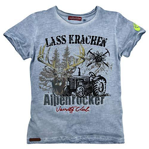 Kinder-T-Shirt 'Alpenrocker' aus Baumwolle Gr. 122 I Schönes Jungen-T-Shirt in Blau I Shirt mit Alpenrocker-Print I Hochwertiges T-Shirt aus Flamée I Wunderschöne & Bequeme Kinderbekleidung