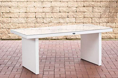 CLP Polyrattan Tisch Avignon I Gartentisch Aus Flachrattan I Esstisch In Verschiedenen Größen, Farbe:weiß, Größe:180 cm