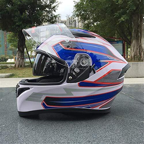 Casco de Cara Completa de Motocicleta de Resina ABS Elegante Casco de Doble Lente para Carreras Design 13 XXL