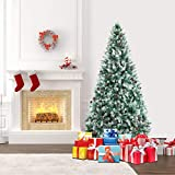 SHareconn 6.5ft Unlit Artificial Hinged Christmas Tree Snow Tree with Pine Cones, 1460 Branch Tips and Metal Stand