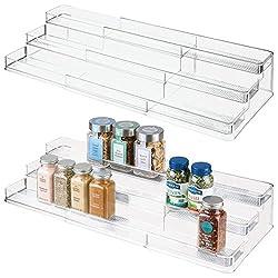 2 acrylic stepped shelf risers