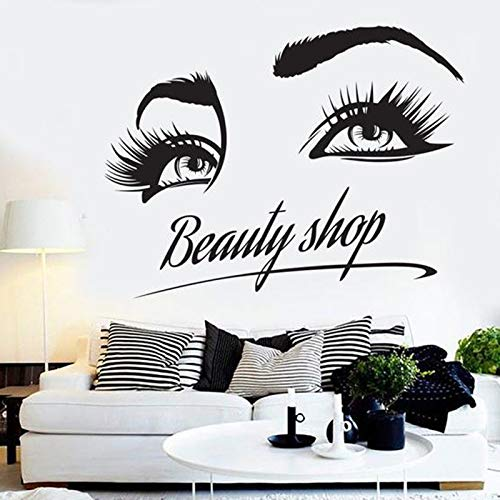 JXMK Friseursalon Nagelkosmetik Shop Wandaufkleber Wimpern Muster Kunst Wanddekoration Vinyl Aufkleber L Home 57x73cm