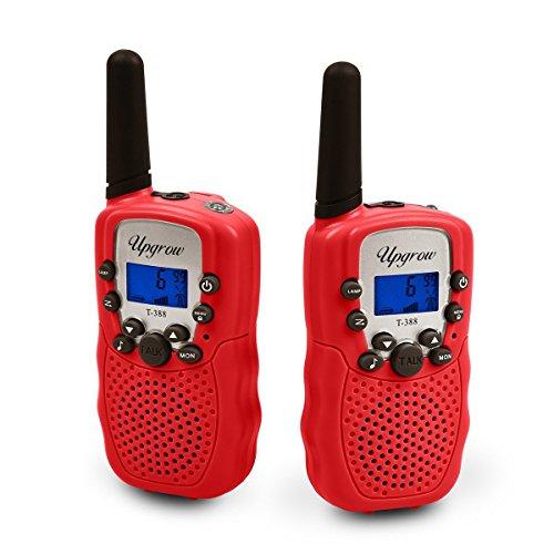 Upgrow 2X Walkie Talkies Set Kinder Funkgeräte 3KM Reichweite 8 Kanäle mit Taschenlampe Walki Talki Kinder (rot)