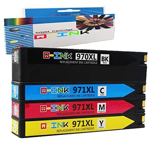 QINK 4 Pack 970 971 Wiederaufbereitete Tintenpatrone Ersatz für 970XL 971XL für Officejet Pro X576dw X451dn X451dw X476dw X476dn X551dw Drucker
