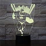 Luz fantasma LED de luz mágica 3D 3D Ilusión Noche Negatoscopio Forma De La Lámpara Superhombre, Cambios De Color Visuales Efecto 7 Tridimensionales, Decoración De La Habitación De Luz Ambiente, Luz D
