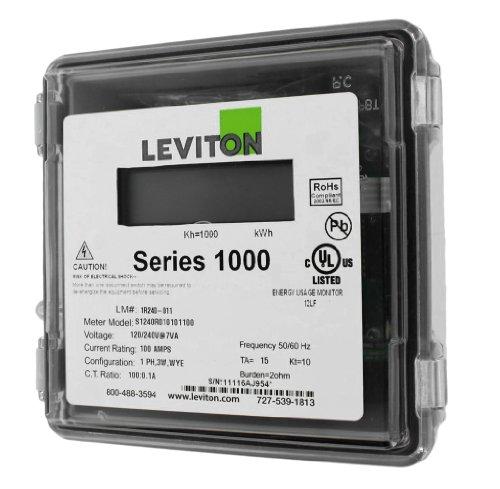 Leviton 1R240-11 Series 1000, Dual Element Meter, 120/208/240V, 2PH, 3W, 100:0.1A ratio, Max 100A, Small Outdoor Enclosure, Gray