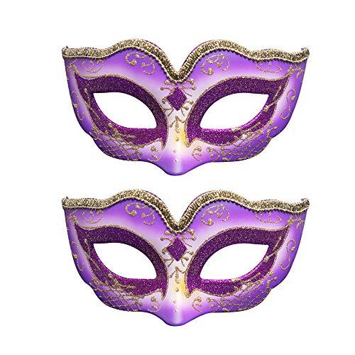 BLEVET 2PCS Carnaval Máscara Veneciana para Halloween Mardi Gras Ball Party Cosplay para Mujeres MZ110 (Blue)