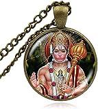 Ciondoli indù Art Lord Hanuman Collane indiane Collana spiritualmente argentata in bronzo con induismo carino Jewely