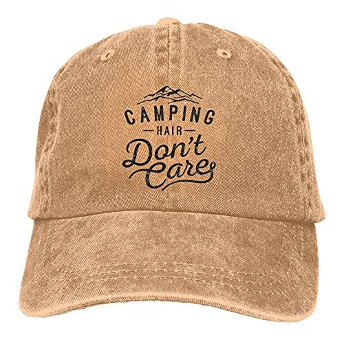 N - A Gorra de béisbol unisex, de algodón, ajustable, ajustable, estilo clásico, para papá, camionero, sombrero de vaquero, Camping Hair Don't Care-2, L