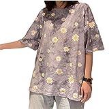 Sconosciuto Magliette estive da Donna Magliette a Maniche Corte Stampate con Stampa Tie-Dye Magliette Larghe Casual e comode3X-Large