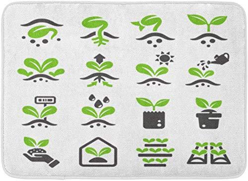 LnimioAOX Fußmatten Bad Teppiche Outdoor/Indoor Türmatte Grüne Samen Sprosse Pflanze wachsen Samen Baum Erde Zeichen Badezimmer Dekor Teppich Badematte