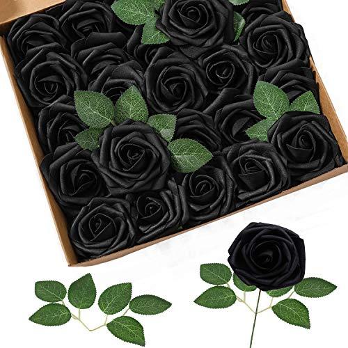 Homcomodar Künstliche Blumen Rose Schwarz 25 Stück Seidenblumen Rosen für DIY Hochzeit Deko