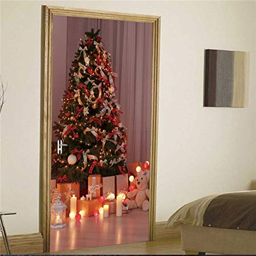 DFKJ Palabras en inglés Etiqueta de la Puerta de la Fiesta de Vacaciones Christams Tree Light Papel Tapiz Autoadhesivo para Puertas DIY Decoraciones de Año Nuevo A12 77x200cm
