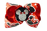 Red & Silver Glitter Minnie Mouse Hair Bow Clip for Disney Vacation or Cruise
