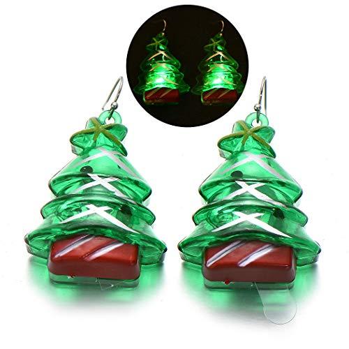Kapmore Pendientes Navidad Adornos Navideños LED Árbol de Navidad Aretes Navideños