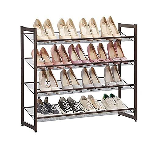 SRGRTRG 3 Niveles Apilable Zapatero Espesamiento Estable Mueble Para Zapatos Separado Multifuncional Gran Capacidad Estante De Almacenamiento Salón Dormitorio-4Longitud de la capa74X30X82cm-Marrón
