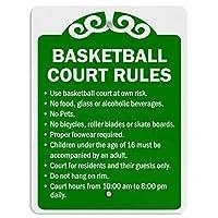 バスケットボールコートのルール、ブリキのサインヴィンテージ面白い生き物鉄の絵画金属板ノベルティ