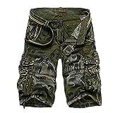 OKJI Short de Camouflage pour Homme Taille Plus Grande de l'été de l'armée Cargo Short d'entraînement lâche décontracté Pantalon - Vert - 44