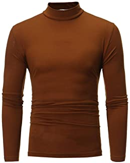 0376f8e5b6845 JSPOYOU Men s Shirts Tank Tops,Men s Autumn Winter Pure Color Turtleneck  Long Sleeve T-