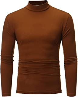 Men's Autumn and Winter Solid Color Turtleneck Long Sleeve Top Elastic Slim Pullover