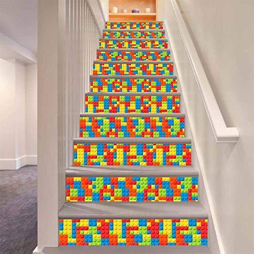 MTX Ltd Westlichen Stil Kreative Wanddekoration Treppe Aufkleber Abnehmbare DIY Selbstklebende Wasserdichte Kind Lego Spielzeug Muster Wandbild...