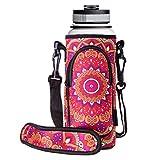RoryTory Neoprene Water Bottle Sleeve Carrier Holder with Shoulder Strap, Pouch, Pocket & Carrying Handle (Fits 32oz / 40oz Hydro Flask, Nalgene, Juglug, Contigo, etc) - Red Flower Mandala Design