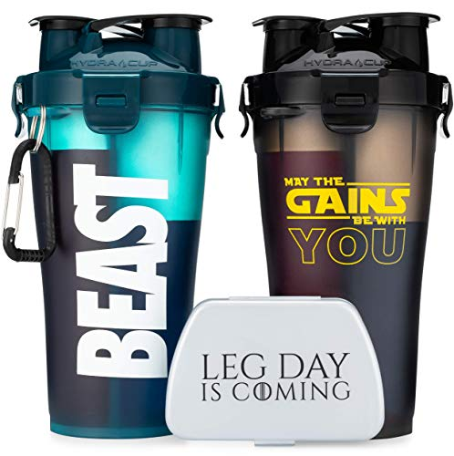 Hydra Cup - 30-Ounce Dual Shaker Bottle, (2 Pack + Pill Container) 15oz on Each Side for Pre & Post, Leak Proof, Awesome Colors, Patented PRE + Protein Shaker Cup, Save Time & Be Prepared