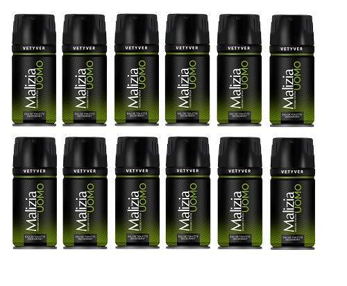 Set 12 MALIZIA Herren Deodorant Spray 150 Vetyver grün Pflege und Hygiene für den Körper