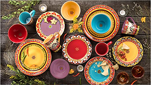 Euro Ceramica Galicia Andalusian-Inspired Collection, 16-Piece Dinnerware Set (Service for 4), Vibrant Assorted Patterns, Multicolor Design