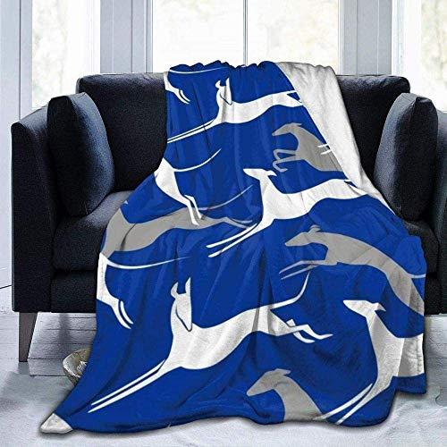 Manta, Regalo curativo reconfortante, Galgo, Azul, Franela de Forro Polar extrafina Grande, Suave y cómoda, cojín de sofá cálido, cojín de sofá cálido Adecuado para Cama y sofá 60'x50' A