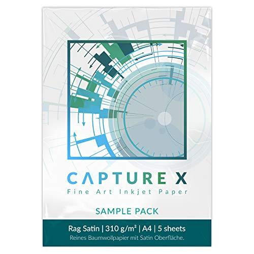 CAPTURE X Rag Satin, 310g/m², A4, Sample Pack, 5 Blatt - Seidenglanz - Lichtbeständigkeit - Fine Art Paper testen