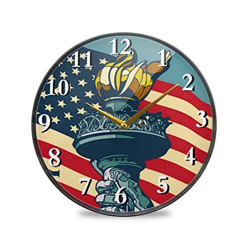 iRoad Acryl Runde Uhr Liberty Amerikanische Flagge Taschenlampe nicht tickend leise batteriebetrieben Wanduhr für Wohnzimmer Schlafzimmer Home Office, multi, 11.9x11.9in