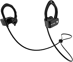 Ant Audio Sports 115 Bluetooth Headphone, Wireless Noise Cancelling HD Stereo with Mic, Hooked Earbuds with Neckband - Black
