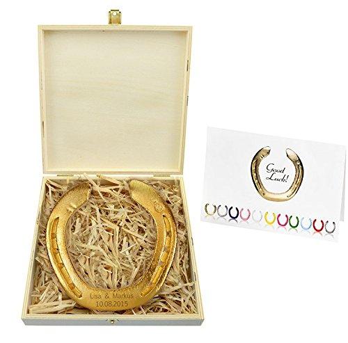 4youDesign Vergoldetes Hufeisen mit Gravur/Holzbox/original Hufeisen vom Pferd - Glückshufeisen - Hochzeitsgeschenk - Geschenk zur Goldenen Hochzeit