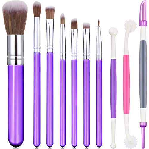 10 Pieces Cookie Decoration Brushes Set Cake Baking Brushes Cookie Decorating Supplies Food Paint Brush for Chocolate Sugar with Fondant and Gum Paste Tool (Purple)