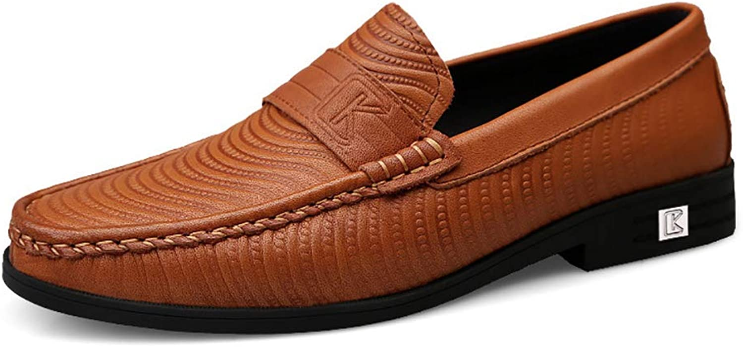 Mens Comfy Lightweight Round Toe shoes Leather Loafer Flats Moccasins Non-Slip Wider Walking Driving shoes Formal Business Work shoes