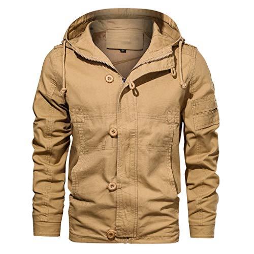 Herren Jacke Kapuzenjacke Outdoorjacke Herbst Winter Outwear Reine Farbe Hoodie atmungsaktiv waschen Mantel CICIYONER