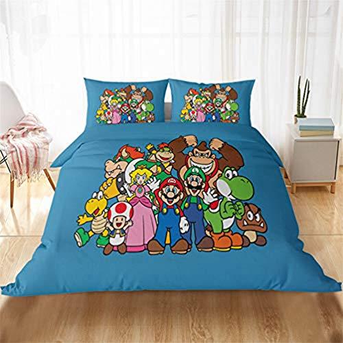 YZHY Super Mario Games - Funda de edredón para cama individual, doble y king (135 x 200 cm), diseño de dibujos animados