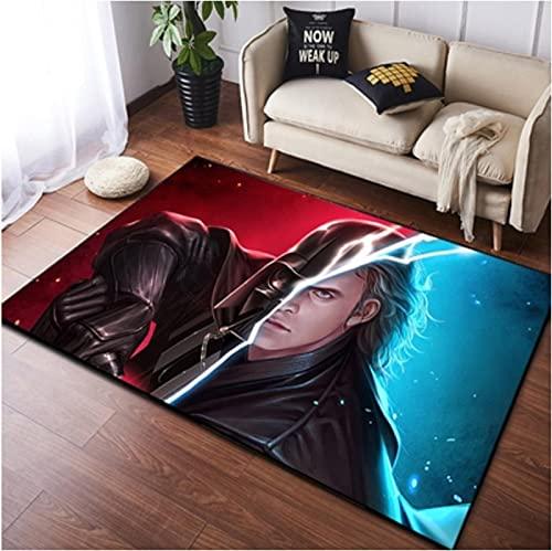 chengcheng Alfombra de Star Wars, alfombras de cabecera de Caballero Jedi, Alfombra de Piso de habitación de niños de Guerrero Negro 120x160cm