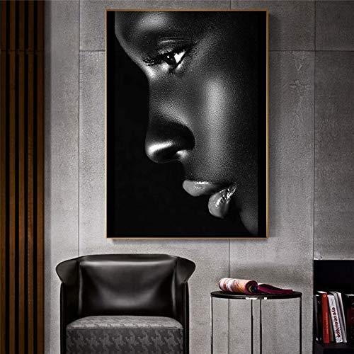 Africano negro mujer nia modelo cara labios maquillaje saln de belleza HD foto lienzo pintura pared arte cartel dormitorio sala de estar estudio decoracin del hogar mural