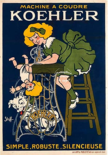 Herbé TM Koehler Nähmaschine Rf186, Poster / Kunstdruck, 50 x 70 cm (auf Papier 60 x 80 cm), d1, Vintage-/Retro-Poster